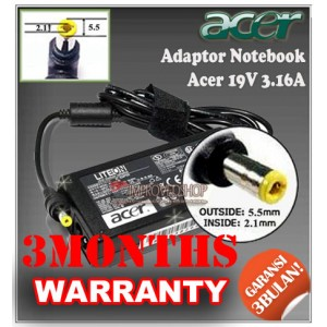 3.1 Adaptor Acer 19V 3.16A Series (Konektor 5.5 x 2.1mm)
