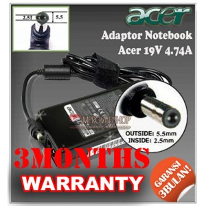 4.1 Adaptor Acer 19V 4.74A (~4.7A) Series (Konektor 5.5 x 2.5mm)